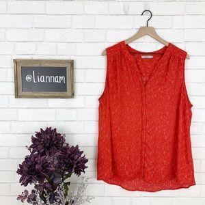 Dalia Red Sleeveless Button Up Blouse, 2X